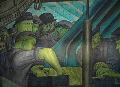 Diego Rivera autorretratado en el mural de Detroit