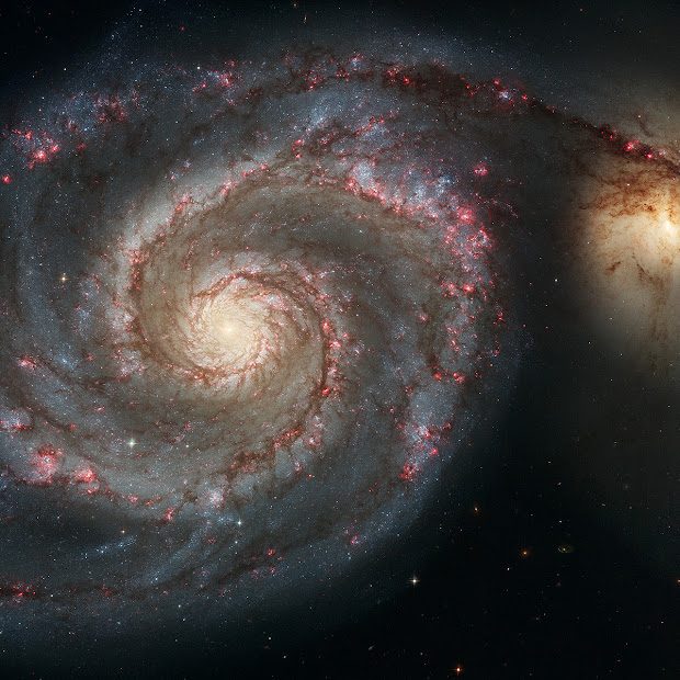 M51 the Whirlpool Galaxy and companion Galaxy shot by Hubble