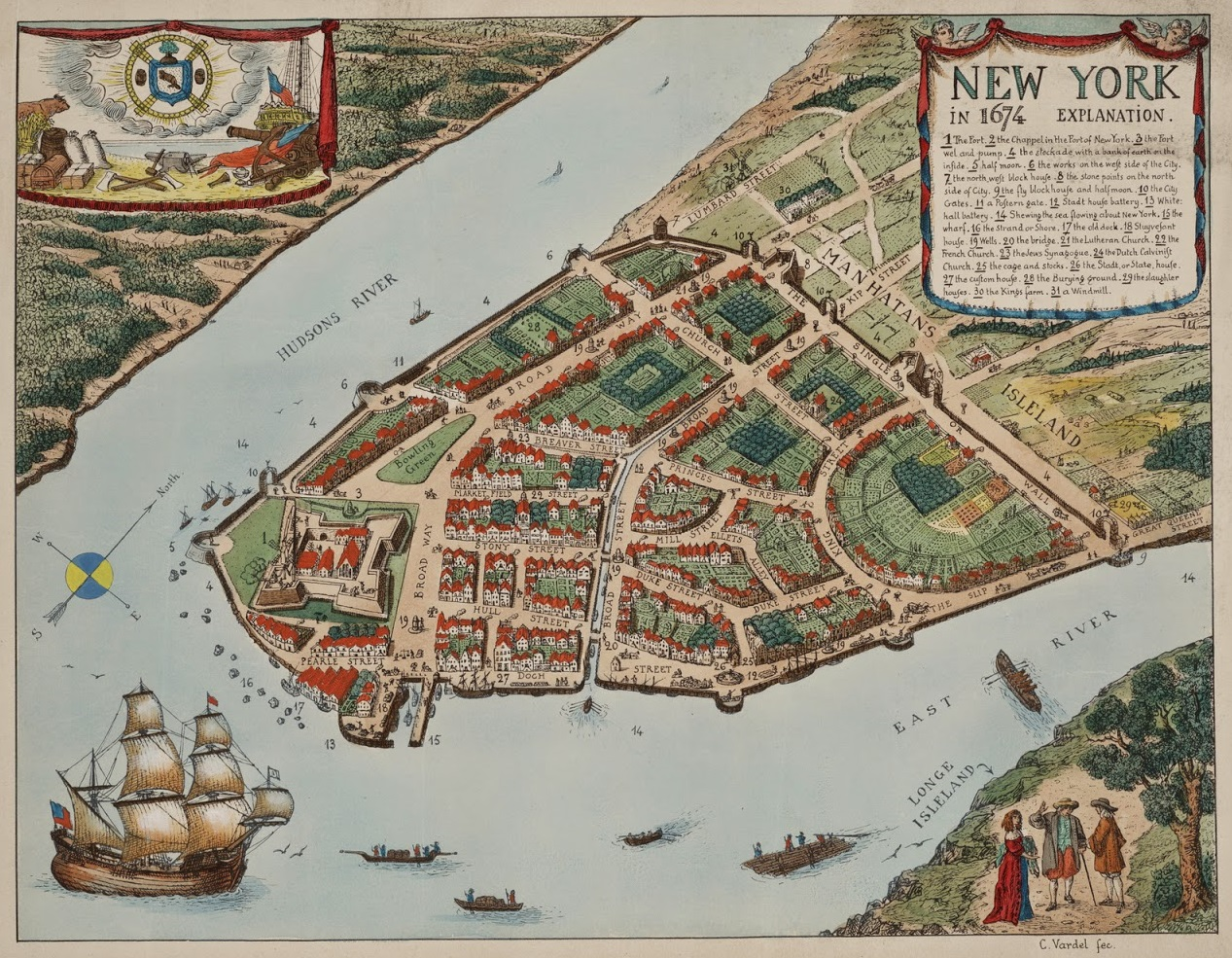 Sylvia Lande Notes Map of New York City in 1674