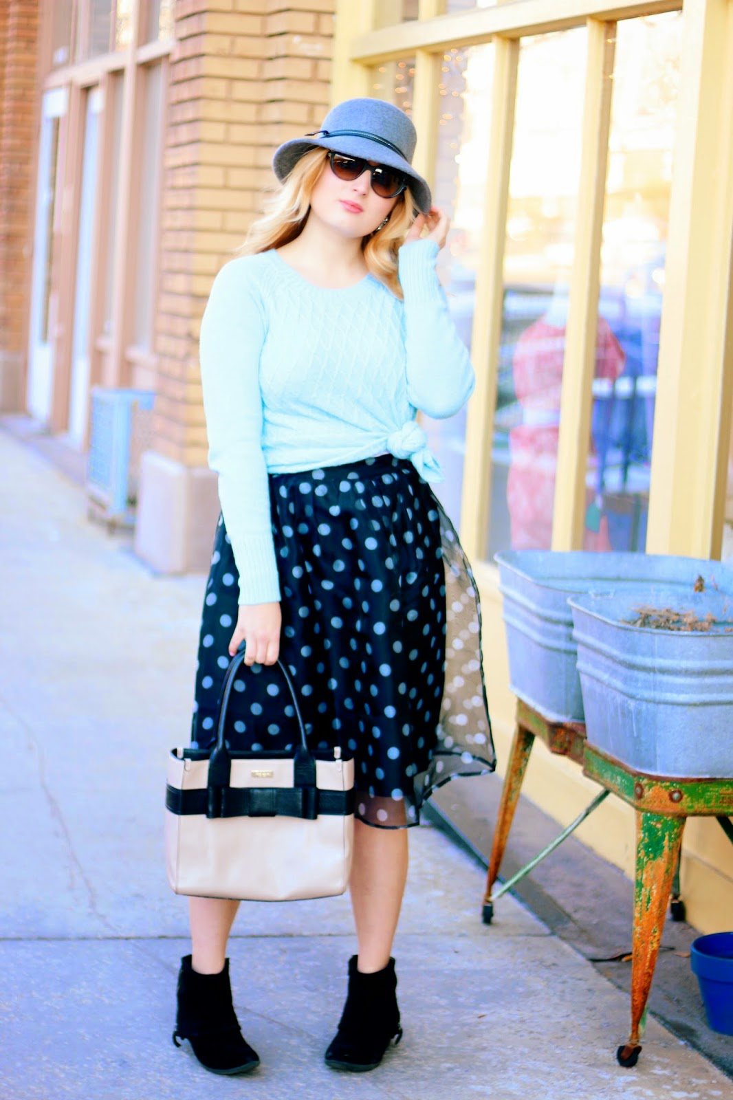 Baby Blue And Polka Dots