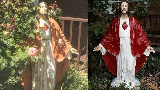A imagem antes e depois do roubo e da restituição.