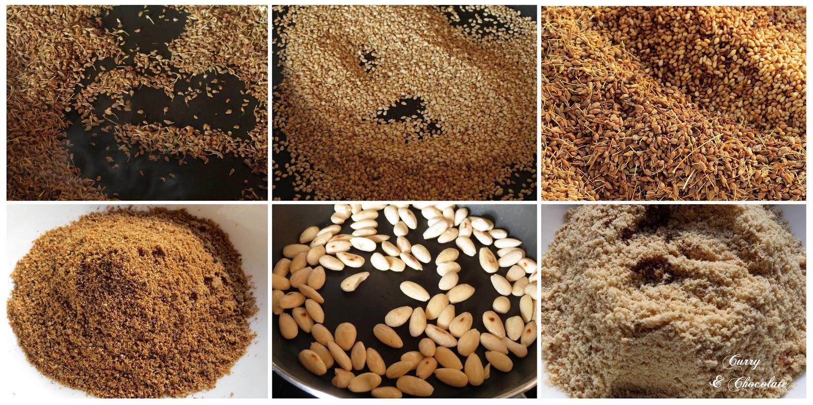 Tostando y moliendo los ingredientes para los pestiños