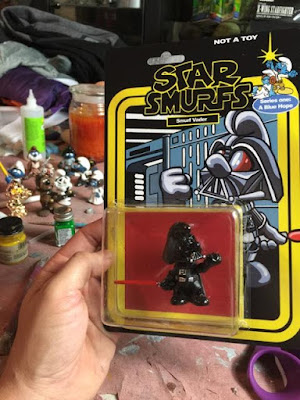 "Designer Con 2015 Exclusive Star Wars x The Smurfs ""Star Smurfs"" Resin Figures by BarndYardFX - Smurf Vader"