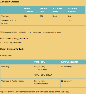carpark rates to Sentosa