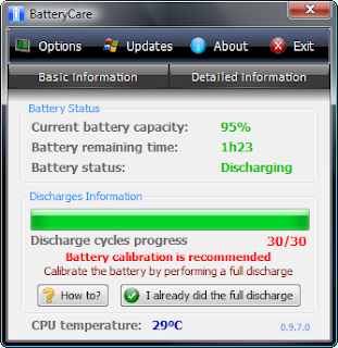 Saving Battery With BatteryCare 0.9 calibration recommended