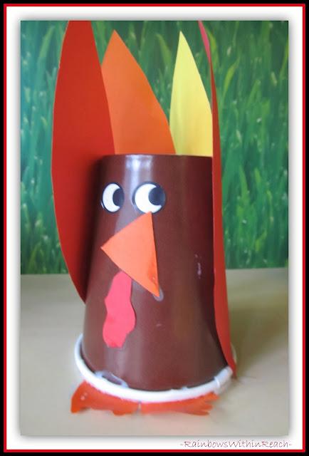 Preschool Thanksgiving Craft: Turkey from Paper Cup via RainbowsWithinReach