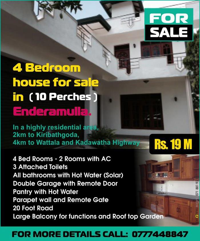 House for Sale in Enderamulla - Kadawatha.