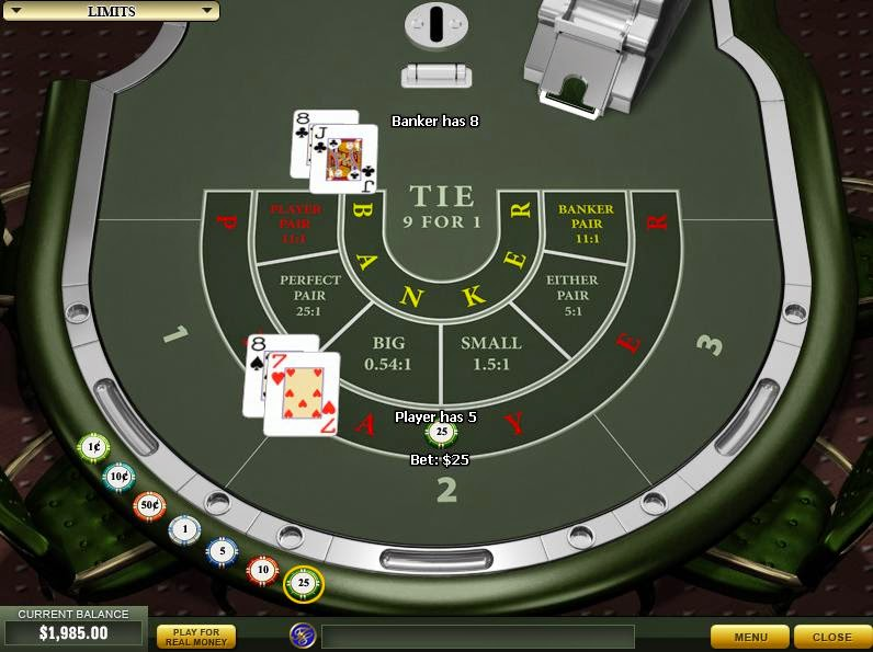 Casino Tropez Baccarat Screen