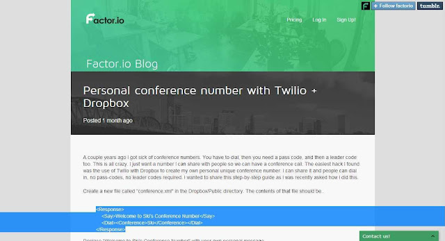 Create your one number conference calling line in the cloud with Twilio & Dropbox