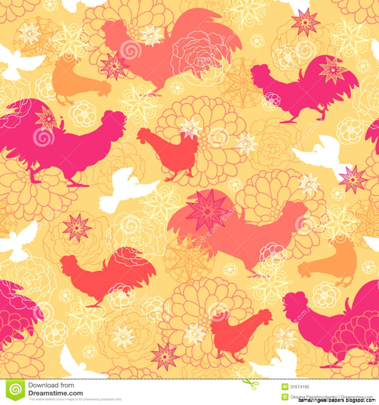 Seamless Pattern Of Flower And Chick Cartoon Background Royalty