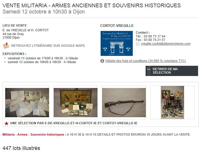 souvenez vous 44 vente aux encheres militaria et armes 12 octobre a dijon. Black Bedroom Furniture Sets. Home Design Ideas