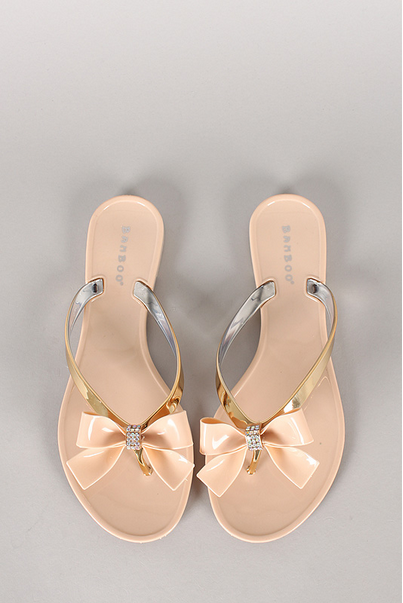 bamboo hawaii jelly bow flip flops, wedding, nude