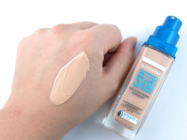 "Maybelline SuperStay Better Skin Foundation in ""15 Ivory"": Review and Swatches"
