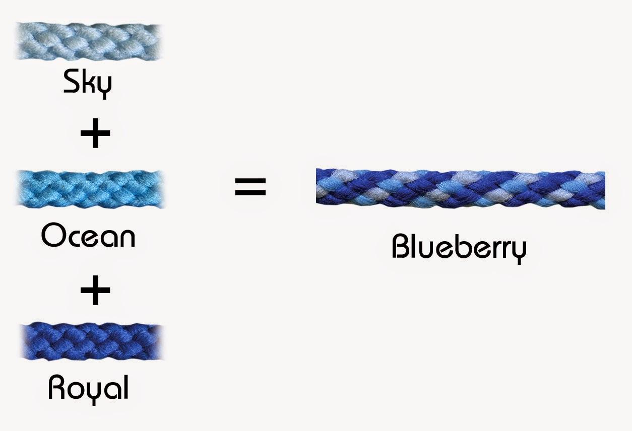 Blueberry (140) Bonnie Braid = Sky (035) + Ocean (036) + Royal Blue (037)
