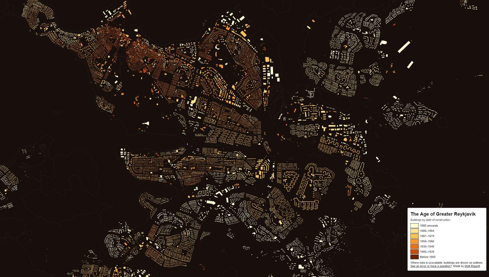Reykjavík building age map