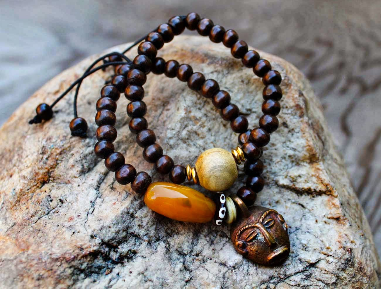 mens brass african mask beaded bracelets
