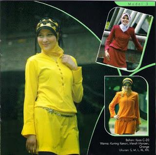 Busana Muslim Orange Kuning kenari Merah marun