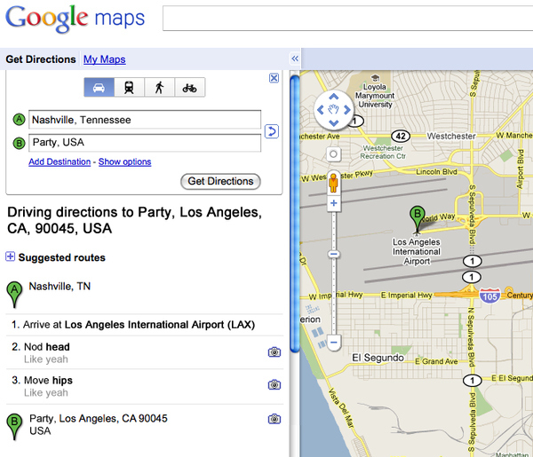 Google Maps, Party In the USA lyrics