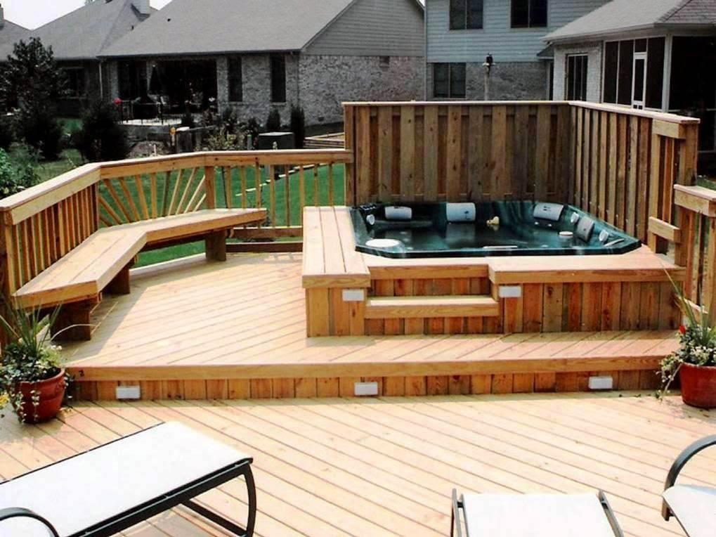 Deck design for hot tub support for Hot tub deck designs plans