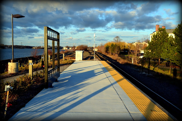 Rail,Station,Shadows, Salem, Massachusetts, mbta, train, commuter, north river