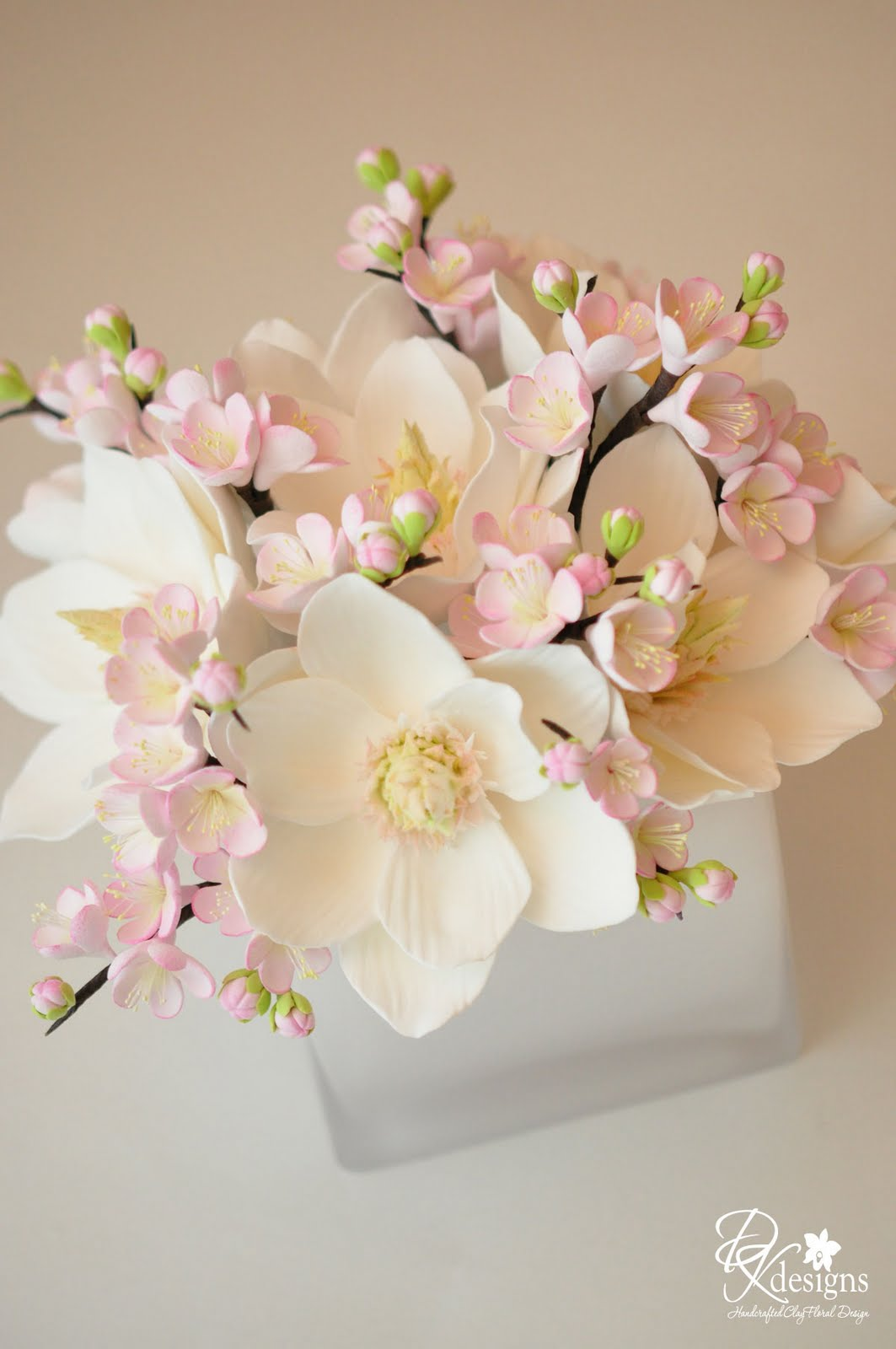 Custom Floral Arrangement = Magnolias and Plum Blossoms - DK Designs