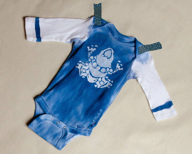 Hand-Stamped Tribal Frog Onesie 2