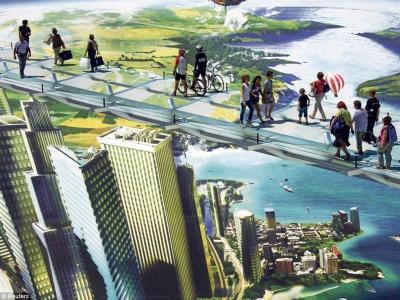 Pengunjung melalui jambatan ilusi dengan di bawahnya adalah sebuah bandar jauh ke bawah.