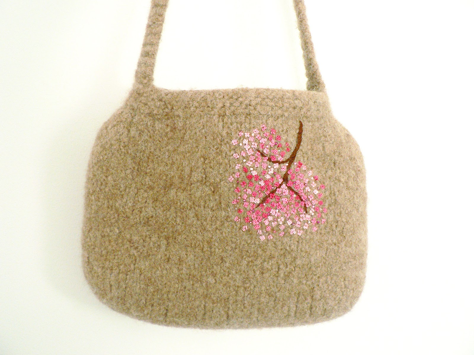 Knitting Bag : Knit n Pearl: Beige Knitted Felted Bag with Cherry Blossoms