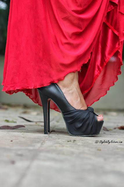 maxi dress with high heels