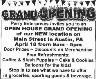 4-18 Grand Opening Perry Enterprises, Austin, PA