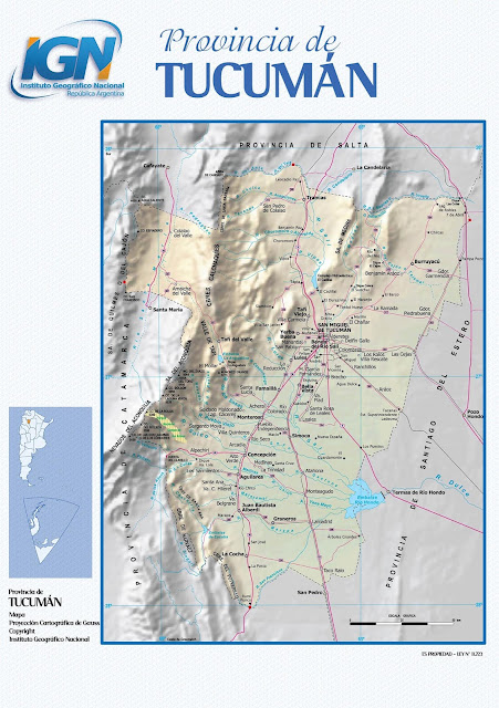 Mapa da província de Tucumán - Argentina