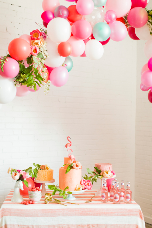Flamingo Pop. A bridal collaboration with BHLDN and The House That Lars Built. Balloon installation by Brittany Watson Jepsen. Florals by Ashley Beyer of Tinge Floral. Balloons provided by Zurchers. Photo by Jessica Peterson.