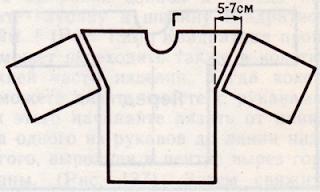Построение выкройки вязаного изделия со спущенным рукавом.