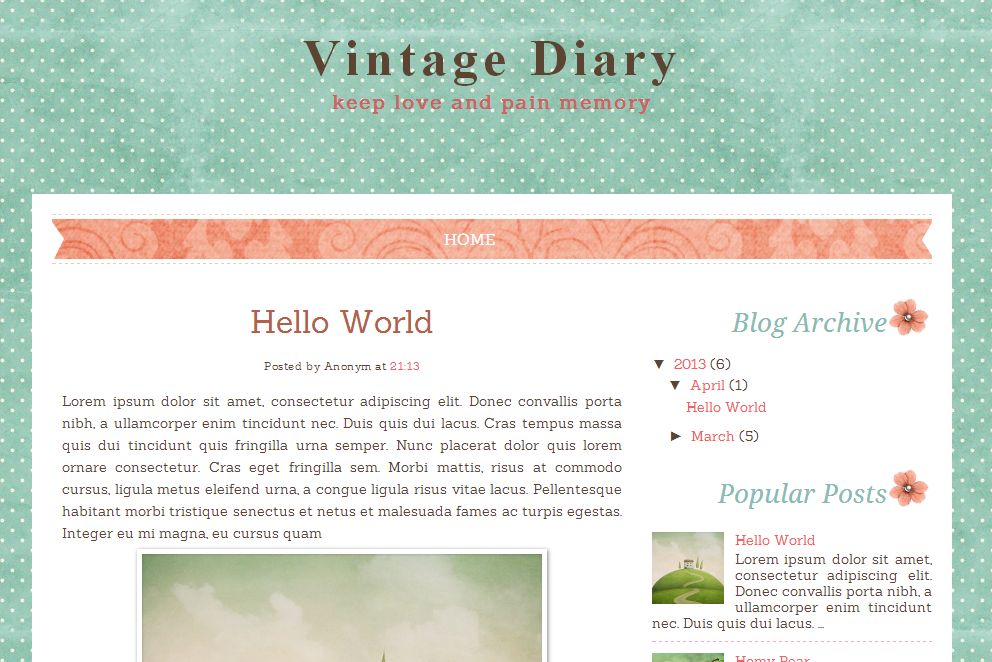 Vintage Diary Free Blog Template | Ipietoon-Cute Blog Design