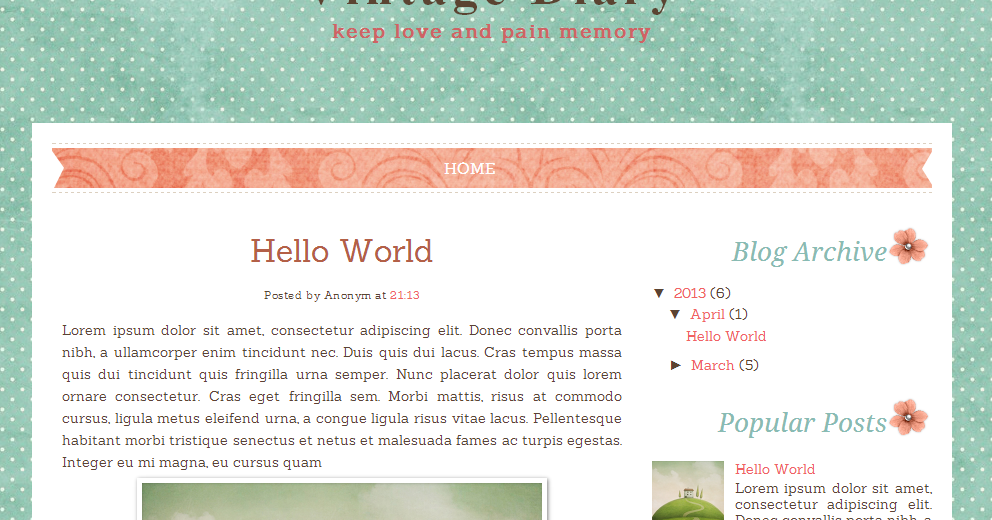 Vintage diary free blog template ipietoon cute blog design for Template for blogger html code