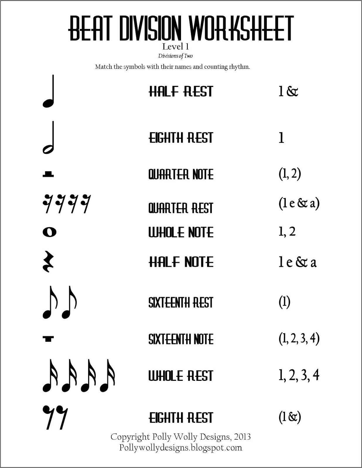 worksheet Beginning Band Worksheets rhythm counting worksheets humorholics polly wolly designs some design work