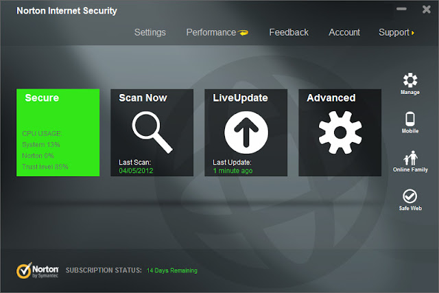 Norton Internet Security 2013 - Metro-style Interface