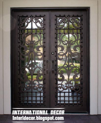 Italian wrought iron glass door inserts for modern houses for Double door for house
