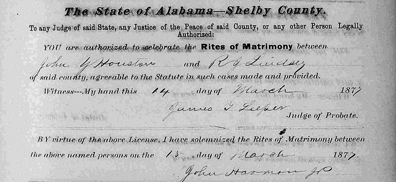 Life in the past lane 2014 shelby co al marriage record of john y houston r j lindsey aiddatafo Image collections