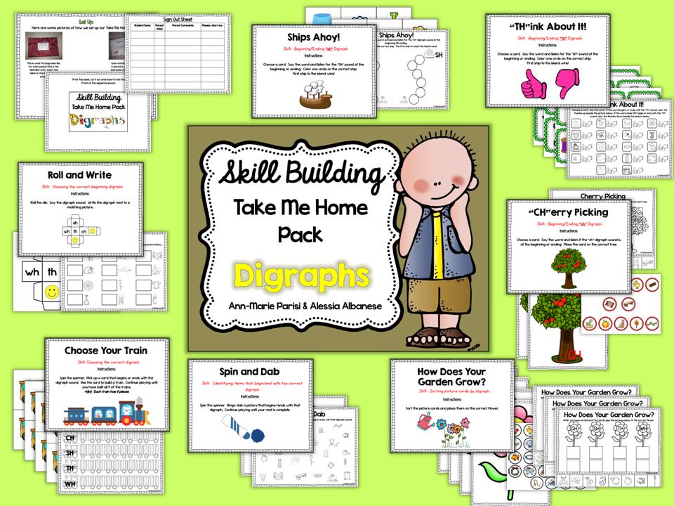 http://www.teacherspayteachers.com/Product/Skill-Building-Take-Me-Home-Pack-Digraphs-1623242