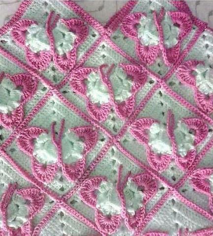 ergahandmade: Crochet Blanket With Butterflies + Diagrams