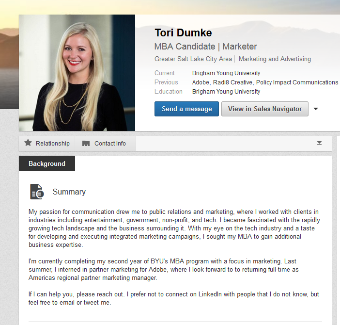 LinkedIn Summary Examples MBA students BYU