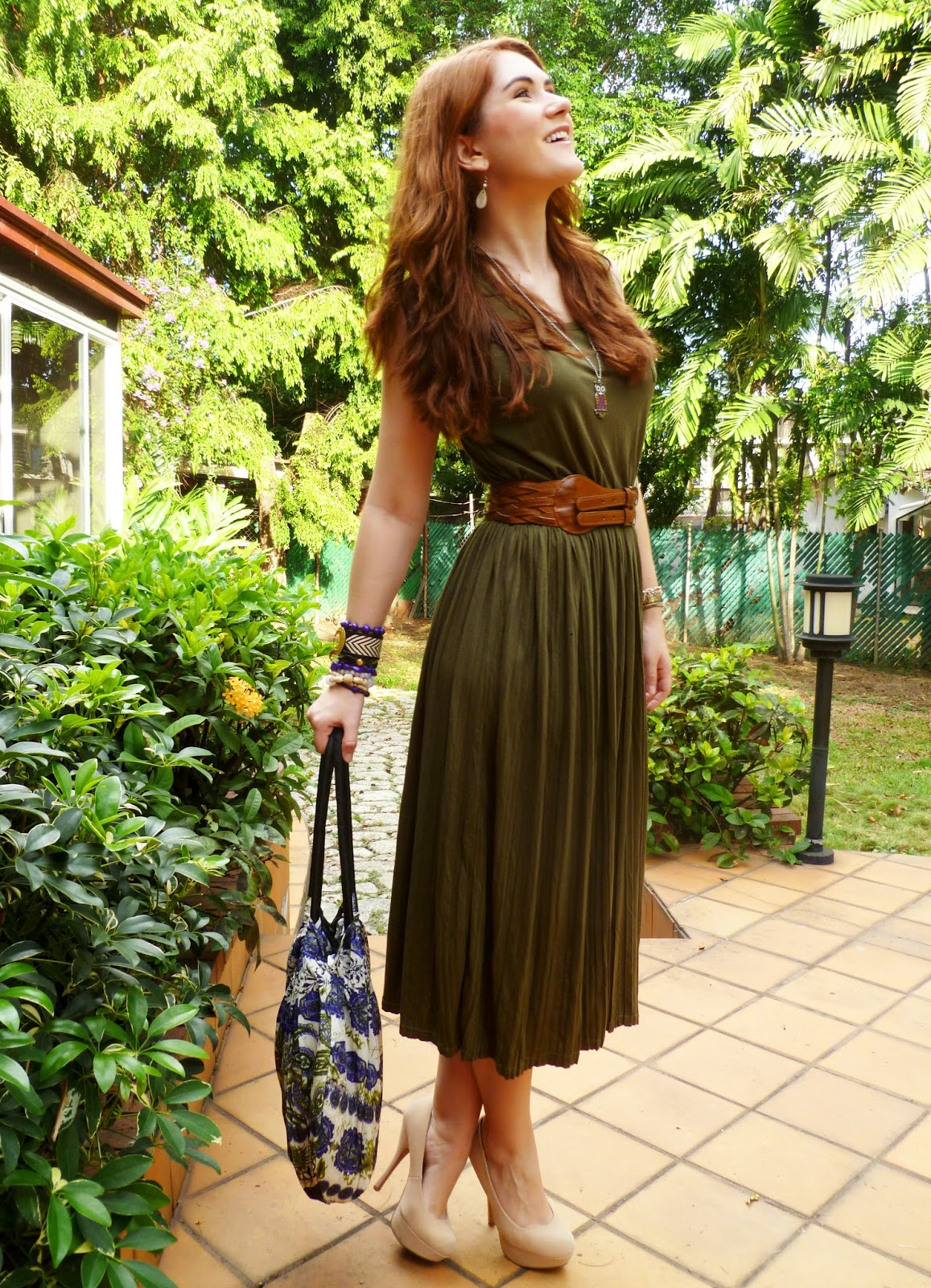 Olive Dress and Brown Accessories