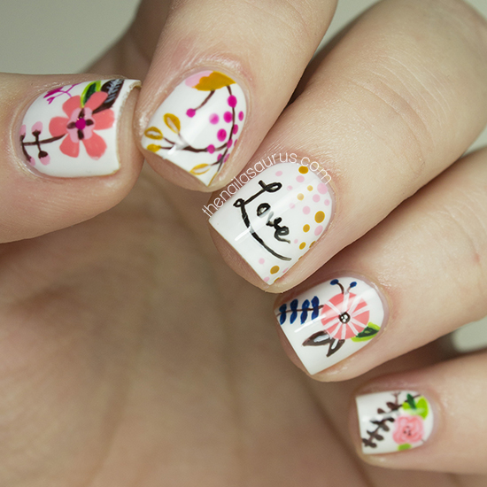 Freehand Nail Art Inspired by LucyDarlingPrints
