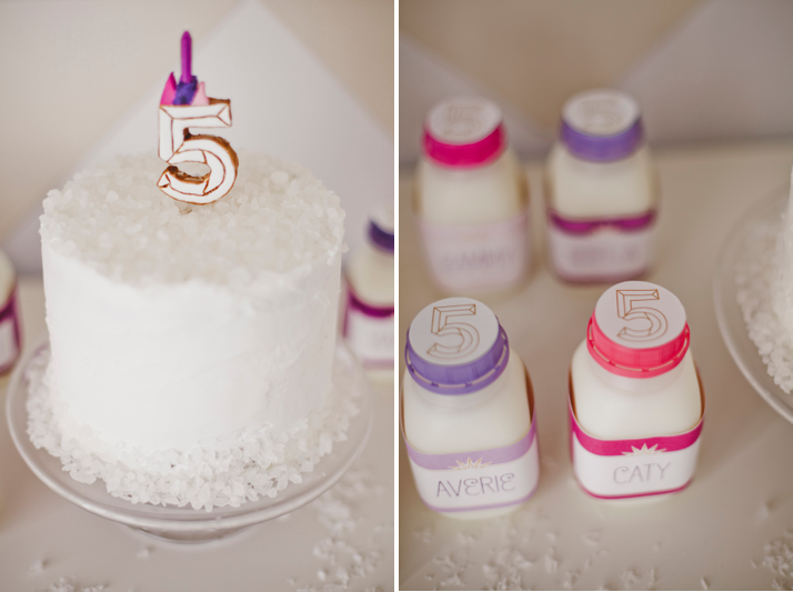 custom cake topper and milk bottle labels for a Winter Wonderland birthday dessert table by Shauna Younge | Sweet Tooth (pic: Angela Rose Photography)