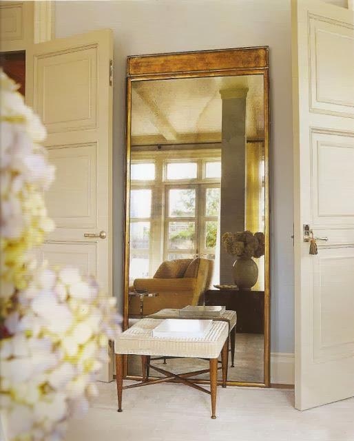 vignette styling bench oversized gold floor mirror