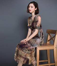 Short Sleeve Vintage Print Chiffon past Knee Length Dress