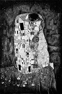 Klimt's kiss, graphic interpretation by Kai Karenin. Chinese ink on paper, 245x370 mm