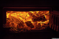 Coals in stove photo abstract