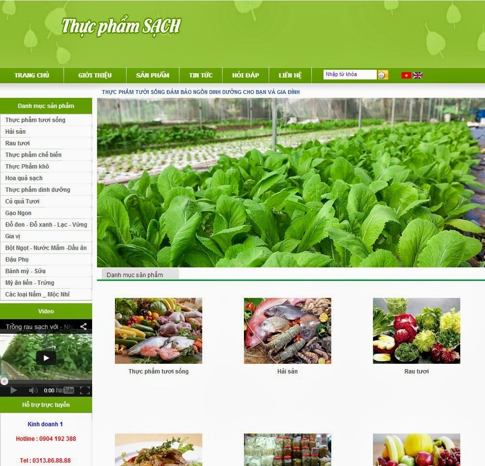 Image result for website bán hàng thực phẩm sạch